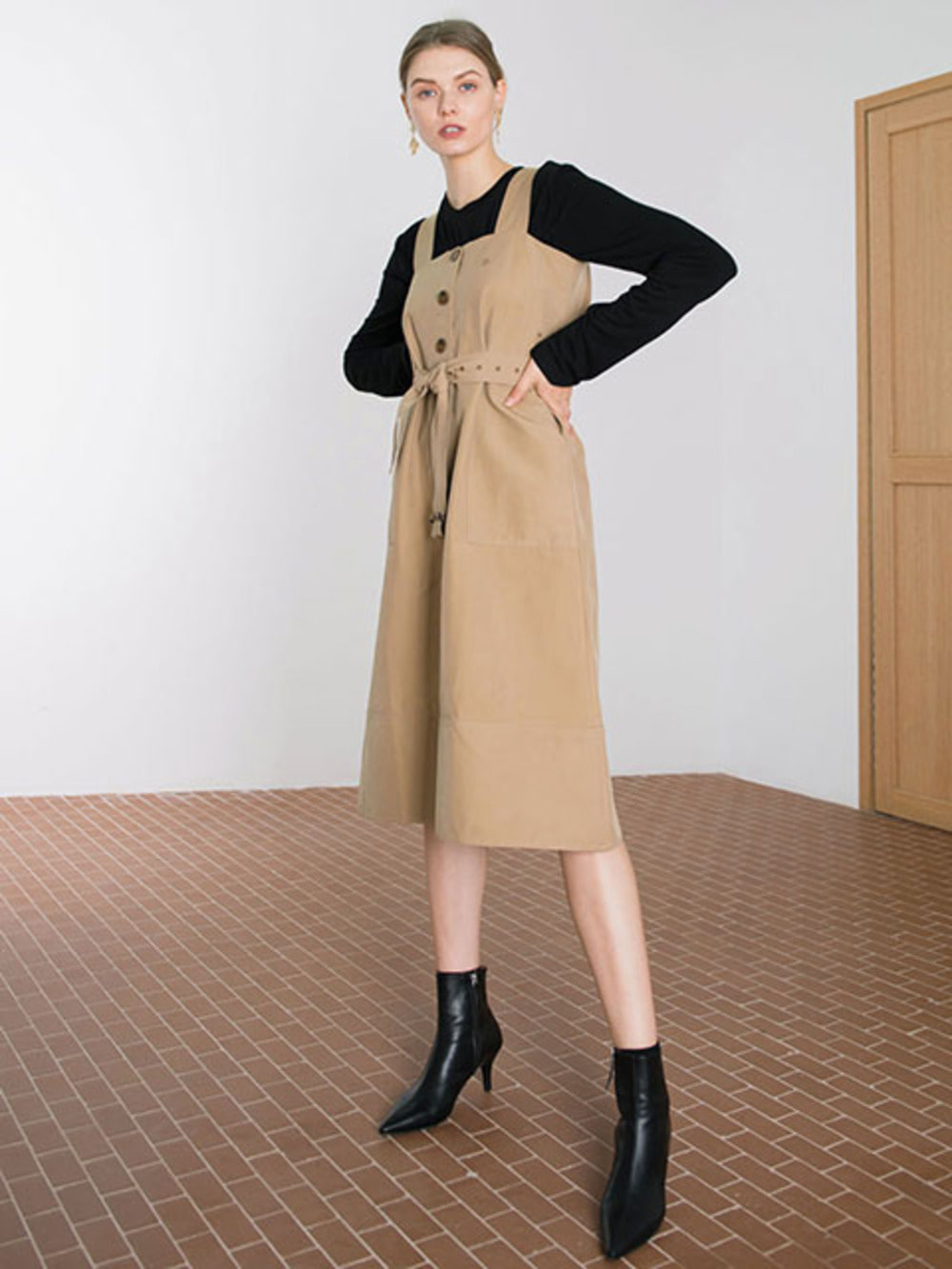 SINGLE BUTTON TRENCH DRESS