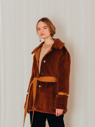 'DIAGONAL X AWESOMENEEDS'SOFT FUR HALF COAT
