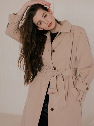 SHIRRING SINGLE TRENCH COAT