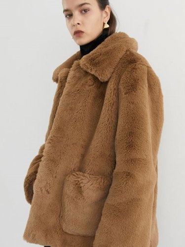 [11/30일 순차배송] STAND COLLAR FUR COAT