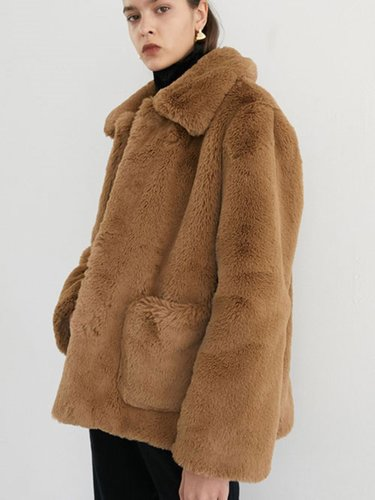 STAND COLLAR FUR COAT